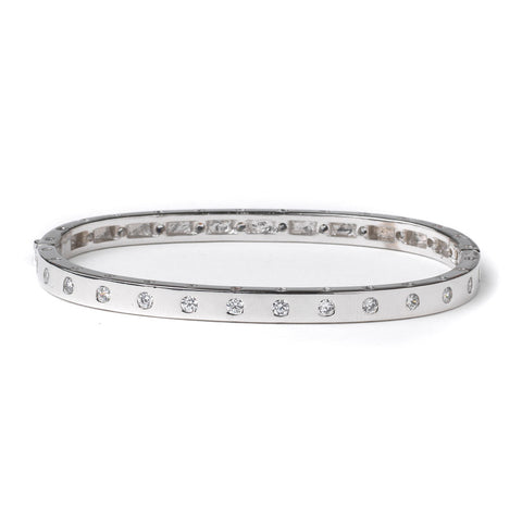 Rhodium Clear CZ Bangle Bridal Wedding Bracelet 82080