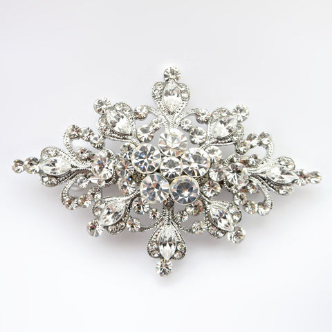 Rhodium Silver Rhinestone Vintage Bridal Wedding Hair Accent Bridal Wedding Hair Barrette 7001
