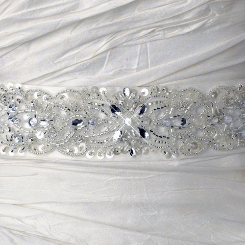 Ivory Matte Satin Crystal Beaded Bridal Wedding Belt 205
