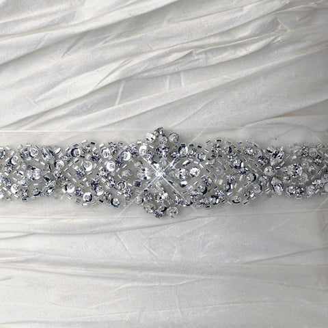 White Beaded Crystal Organza Bridal Wedding Belt 216