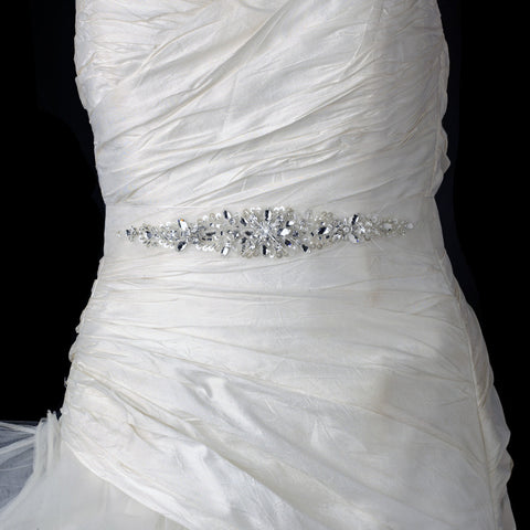 White Beaded Crystal Organza Bridal Wedding Belt 218