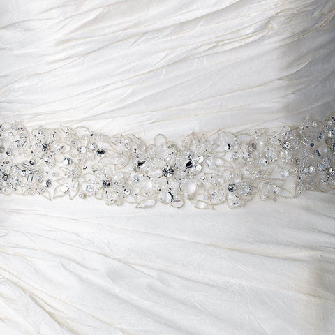 Sheer Organza Embroidered Ivory Ribbon Beaded Bridal Wedding Belt/Bridal Wedding Headband 260