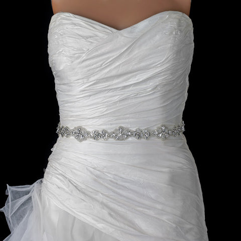 Rhinestone Beaded Bridal Wedding Sheer Ribbon Belt 288