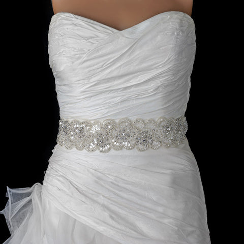 Beaded Sequin Rhinestone Bridal Wedding Belt 294
