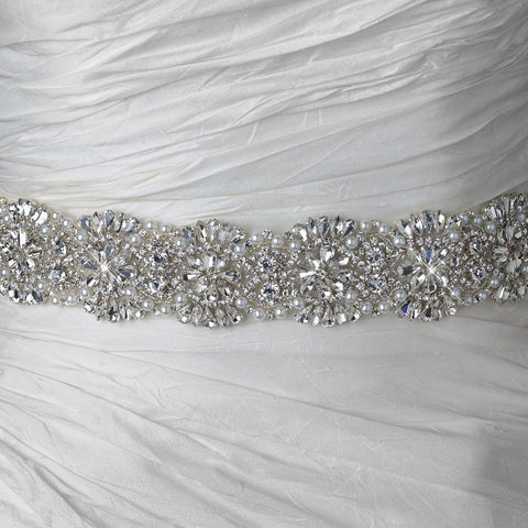 Rhinestone Beaded Pearl Bridal Wedding Belt 314