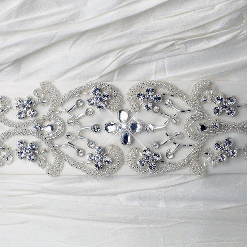Ivory Matte Satin Floral Beaded Rhinestone Bridal Wedding Belt 384