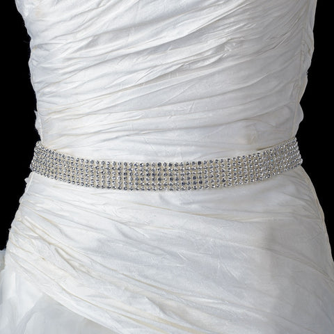Ivory Matte Satin Rhinestone Bridal Wedding Belt 297