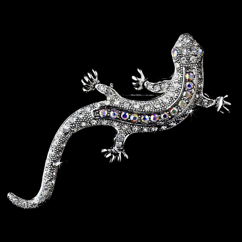 * Antique Silver Clear Aurora Borealis Rhinestone Lizard Bridal Wedding Brooch 100