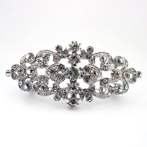 Rhodium Silver Clear Rhinestone Vintage Bridal Wedding Hair Barrette 1000