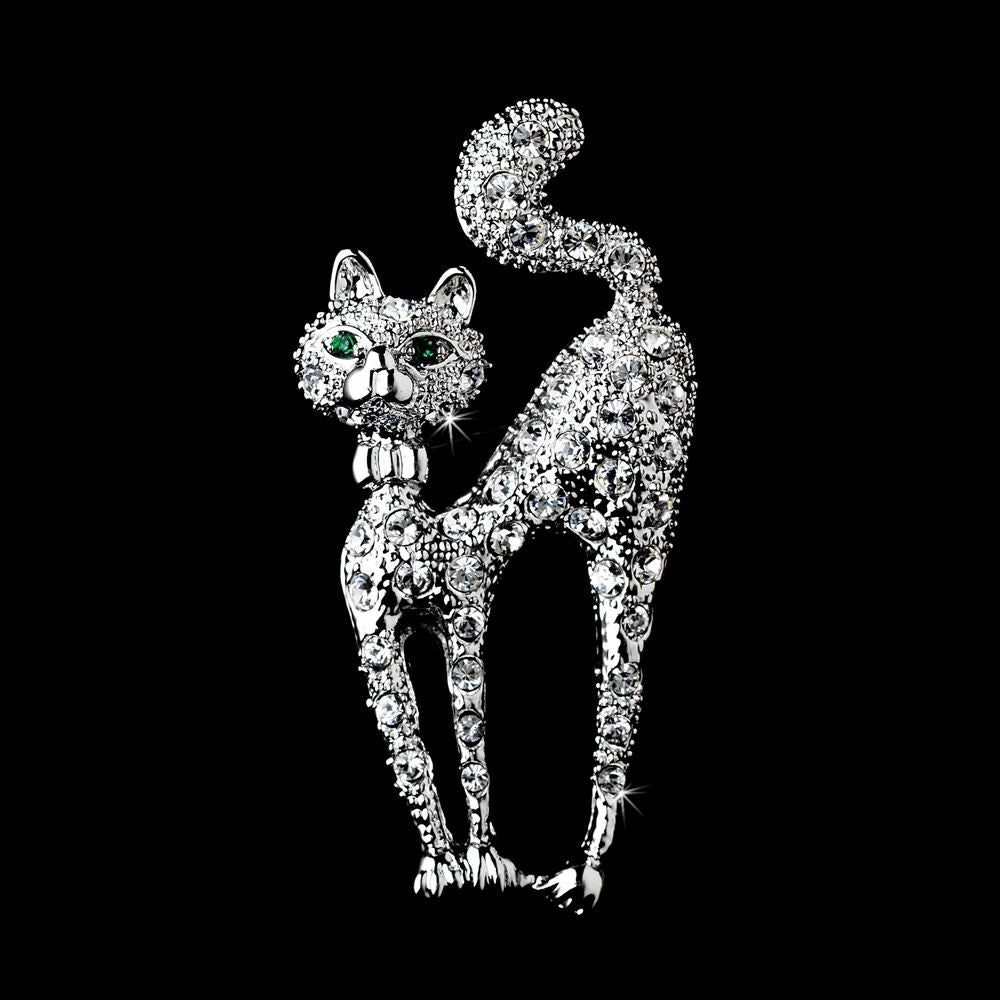 * Antique Silver Clear Rhinestone Cat w/ Green Eyes Bridal Wedding Brooch 101