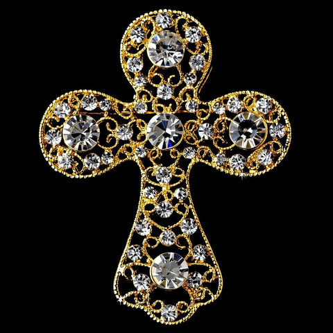* Gold Clear Rhinestones Cross Bridal Wedding Brooch 105