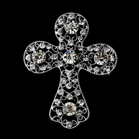 * Antique Silver Clear Rhinestone Cross Bridal Wedding Brooch 105