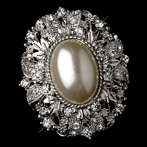 Vintage Style Antique Silver Oval Diamond White Pearl Bridal Wedding Brooch 134