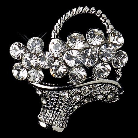 * Antique Silver Clear Rhinestone Flower Basket Pin Bridal Wedding Brooch 135