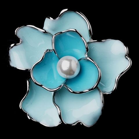 Antique Silver Blue Flower with White Pearl Bridal Wedding Brooch 146