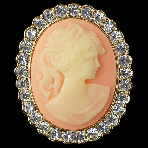 Gold Clear Cameo Bridal Wedding Brooch with Peach Background and Rhinestone Border