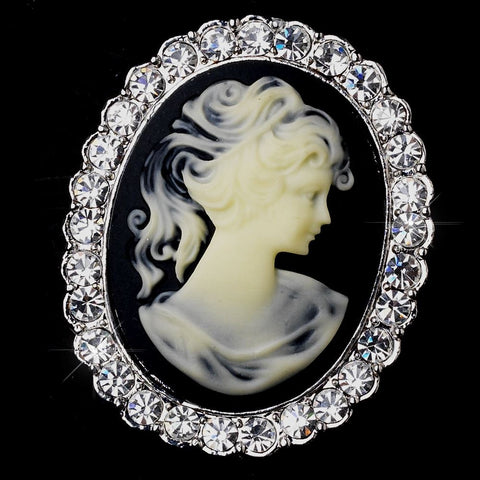 * Antique Silver Cameo Bridal Wedding Brooch with Black Background and Rhinestone Border 147