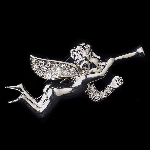 * Antique Silver Clear Rhinestone Encrusted Angel Bridal Wedding Brooch 196