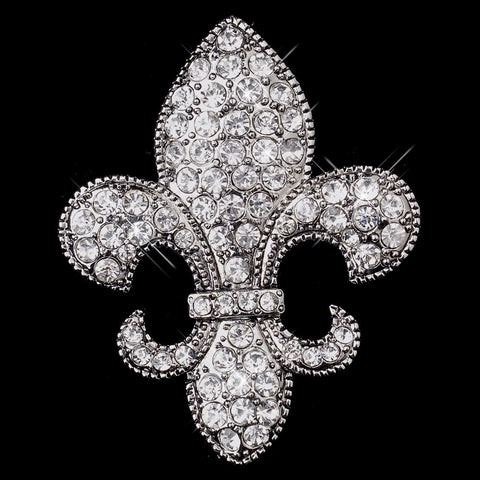 Antique Silver Clear Fleur De Lis Rhinestone Bridal Wedding Brooch 203