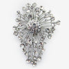 Antique Rhodium Silver Clear Bridal Wedding Brooch 233