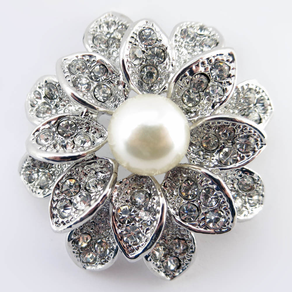 Antique Rhodium Silver Ivory Pearl Bridal Wedding Brooch 234