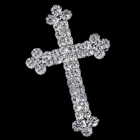 Silver Faith Rhinestone Cross Bridal Wedding Brooch 30020