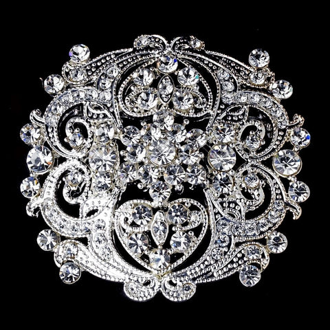 Antique Clear Rhinestone Vintage Style Bridal Wedding Brooch 3181