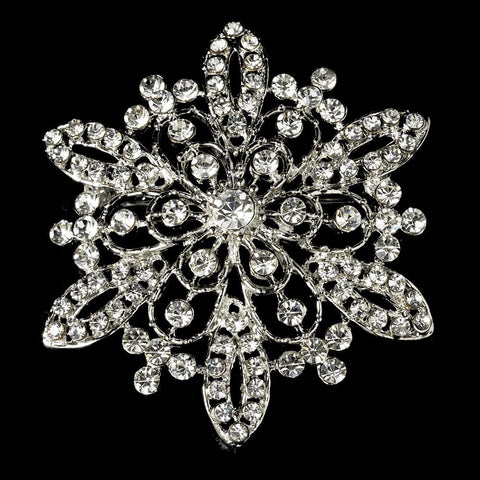 Vintage Rhinestone Bridal Wedding Brooch 36 Antique Silver with Rhinestones