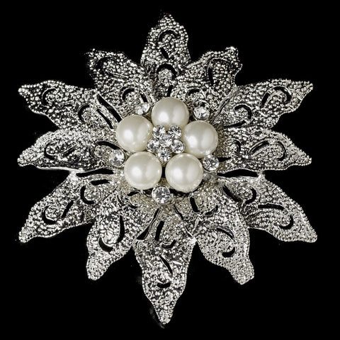 Vintage Antique Silver and Rhinestone & Diamond White Pearl Bridal Wedding Brooch 38