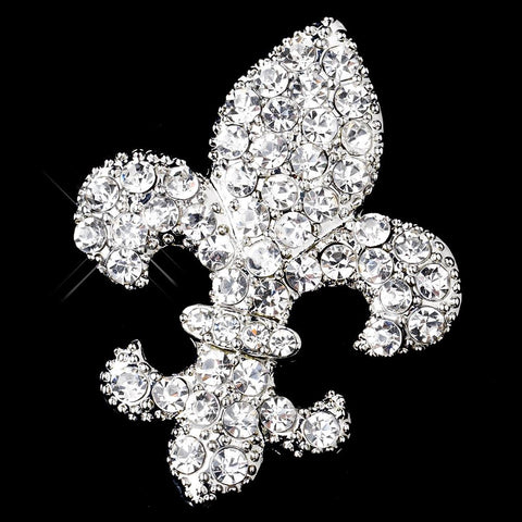 * Antique Silver Clear Rhinestone Fleur De Lis Bridal Wedding Brooch 416