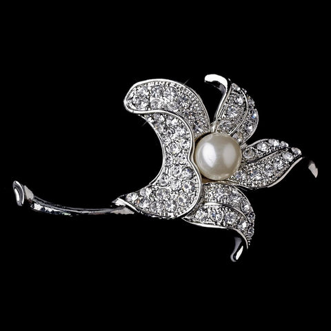 * Bridal Wedding Brooch 68 Antique Silver Rhinestones and Diamond White Pearl