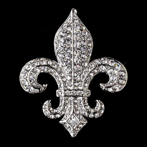 Antique Silver Clear Rhinestone Fleur De Lis Bridal Wedding Brooch 80 Small
