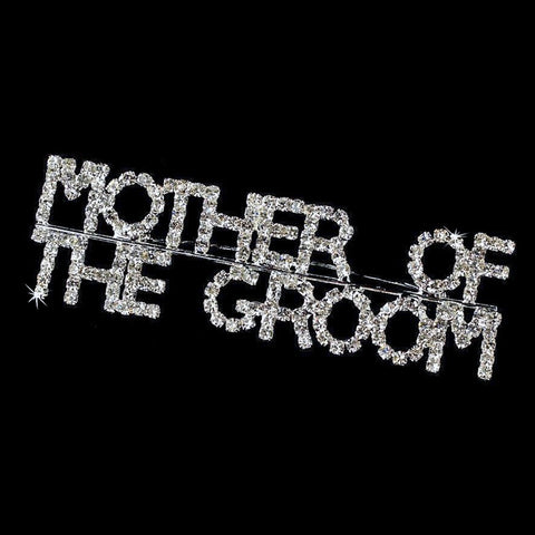 Silver with Rhinestones Mother Of The Groom Bridal Wedding Brooch 9012