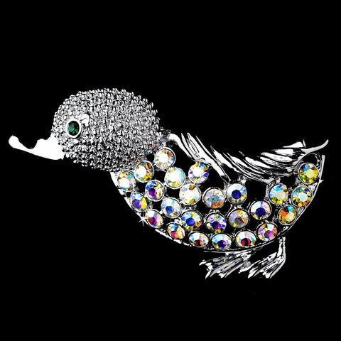 * Antique Silver AB Rhinestone Duck Pin w/ Green Rhinestone Eyes Bridal Wedding Brooch 99