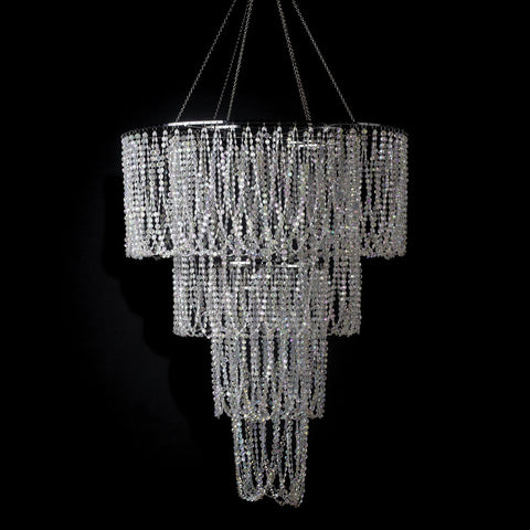 Extra Large 4 Tiered Diamond Cut Crystal Beaded Swag Chandelier 13 AB