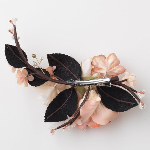 Rose Peach Gold Organza Soft Fabric Pearl Rhinestone Bridal Wedding Hair Flower Bridal Wedding Hair Clip w/ Golden Leaves