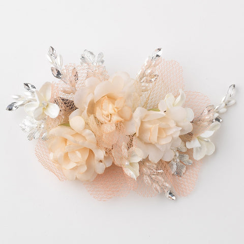 Peach Ivory Rhinestone Pearl Organza Mesh Flower Bridal Wedding Hair Clip