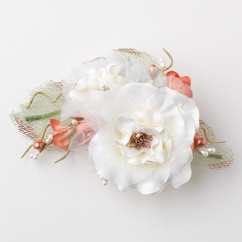 Ivory Rose Sheer Organza Mesh Pearl Flower Bridal Wedding Hair Clip
