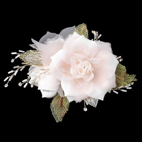 Champagne White Organza Bead Rhinestone Flower Bridal Wedding Hair Clip w/ Silver Leaves