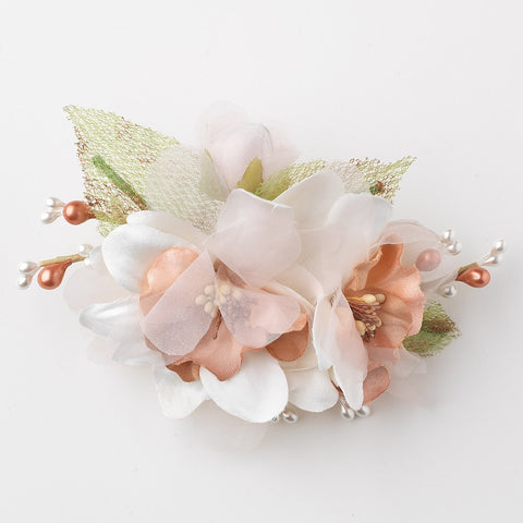 Rose White Sheer Organza Mesh Pearl Bridal Wedding Hair Flower Bridal Wedding Hair Clip