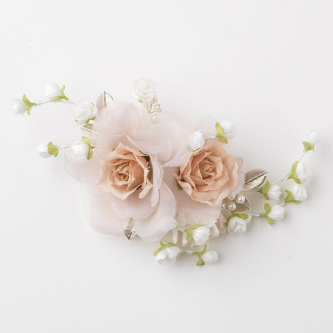Rum Pink Sheer Organza Pearl Flower Bridal Wedding Hair Clip w/ Golden Leaves