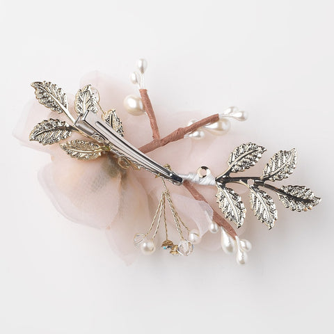 Rum Pink Ivory Sheer Organza Pearl & Swarovski Crystal Bead Flower Bridal Wedding Hair Clip w/ Golden Leaves