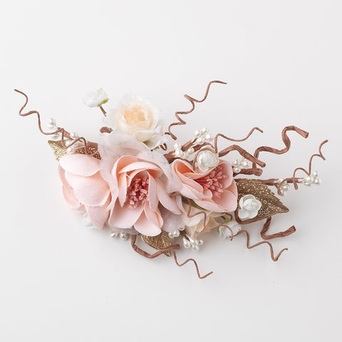 Pink Peach Pearl Soft Fabric Flower Bridal Wedding Hair Clip w/ Golden Leaves