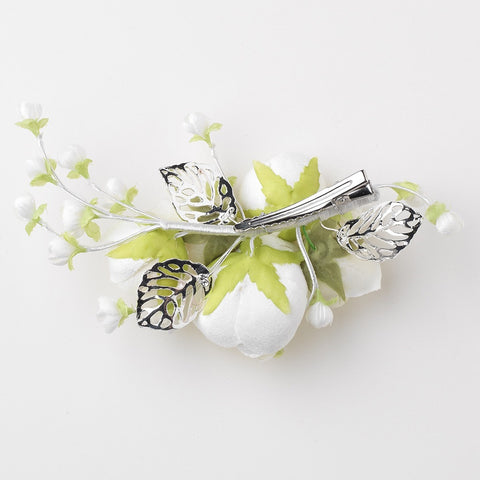 Light Ivory Soft Fabric Flower Bridal Wedding Hair Clip w/ Silver Leaves