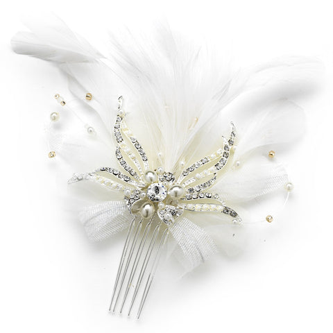 Vintage Feather Bridal Wedding Hair Accent Bridal Wedding Hair Comb 7812 or Bridal Wedding Hair Clip/Bridal Wedding Brooch 7812