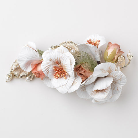 White Gold Rose Fabric Flower Bridal Wedding Hair Comb w/ Golden Leaves, Pearls & Rhinestones