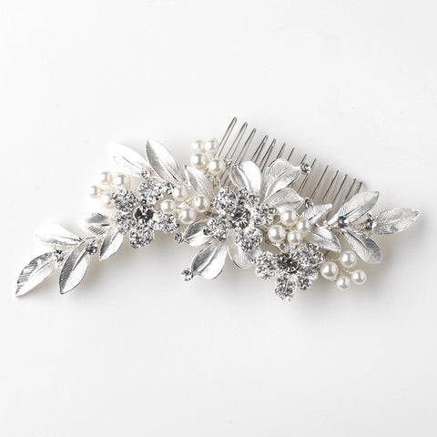 Silver Ivory Pearl & Rhinestone Flower Leaf Bridal Wedding Hair Comb 36