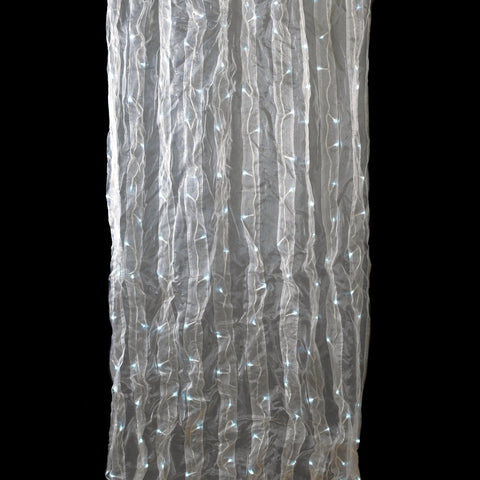 Warm White 200 LED Lights with White Organza Curtain 8-8