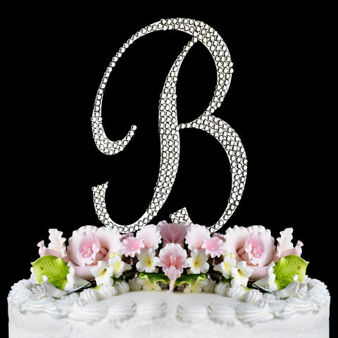 Completely Covered ~ Silver Plated Individual Letter Inital Crystal Bridal Wedding Cake Toppers