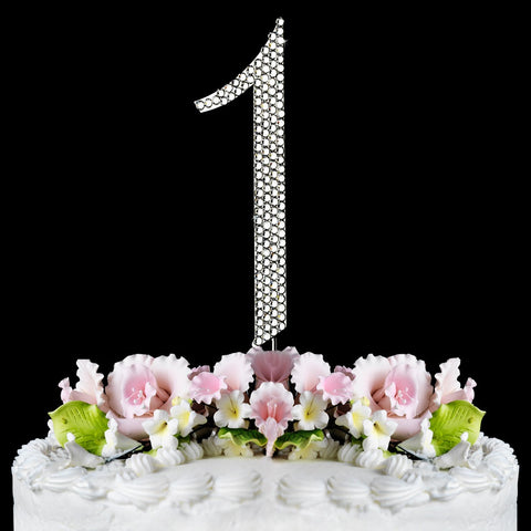 Completely Covered ~ Silver & Gold Plated Individual Number Crystal Bridal Wedding Cake Toppers
